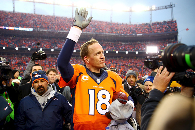 Jan 24, 2016 File photo; Denver, CO, USA; Denver Broncos quarterback Peyton Manning (18) waves to the crowd after the AFC Championship football game against the New England Patriots at Sports Auth ...