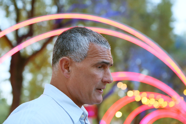 South Carolina coach Frank Martin speaks to the news media during the 9th annual Coaches vs. Cancer Las Vegas Golf Classic hosted at MGM Grand Sunday, May 22, 2016, in Las Vegas. Ronda Churchill/L ...