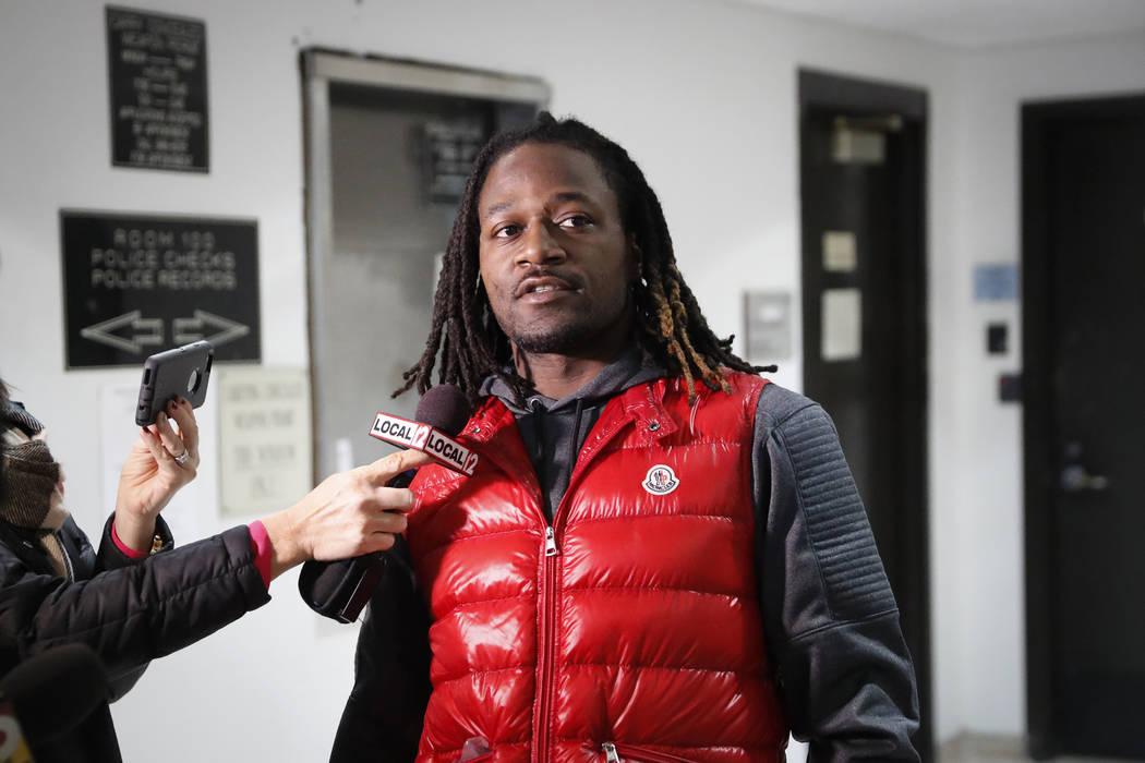 """In this Jan. 4, 2017, file photo, Cincinnati Bengals cornerback Adam """"Pacman"""" Jones speaks to reporters as he is released from the Hamilton County Justice Center in Cincinnati. A judge in Cincinna ..."""