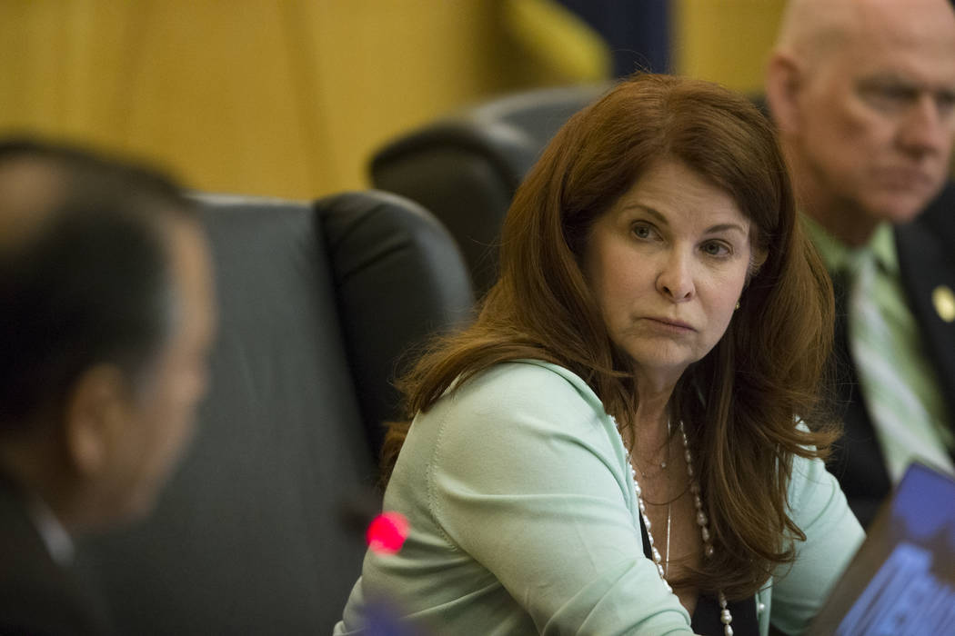 Henderson Ward 2 City Councilwoman Debra March during a Regional Transportation Commission board meeting at the Clark County Commission Chambers on Thursday, April 13, 2017, in Las Vegas. March wi ...