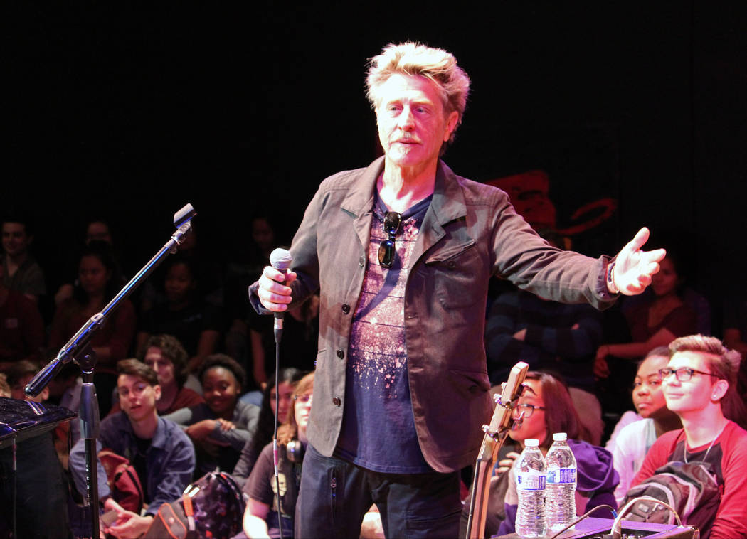 Ross Valory, from the band Journey, speak to students at Las Vegas Academy of the Arts in Las Vegas, Wednesday, May 17 2017. Gabriella Benavidez Las Vegas Review-Journal @latina_ish