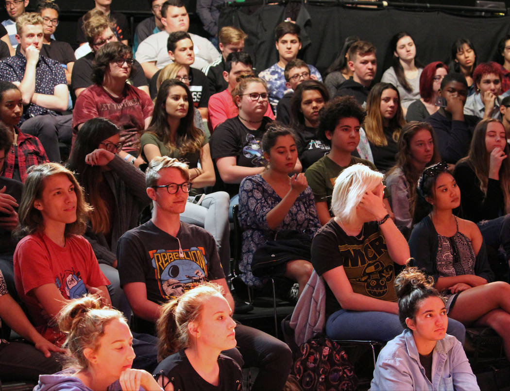 Las Vegas Academy of the Arts students listen to Journey's band members Ross Valory's and Jonathan Cain's advice on how to get into the music world at the academy, Wednesday, May 17 2017. Gabriell ...