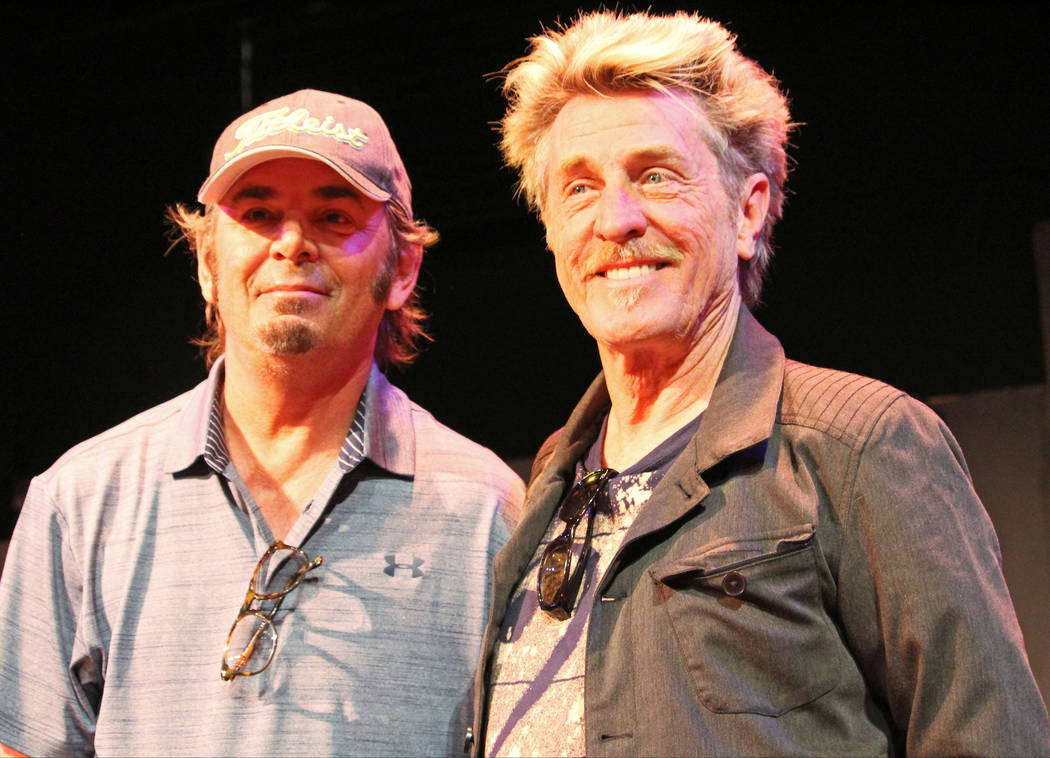 Jonathan Cain, left, and Ross Valory, from the band Journey after speaking to students at Las Vegas Academy of the Arts, Wednesday, May 17 2017. Gabriella Benavidez Las Vegas Review-Journal @latin ...