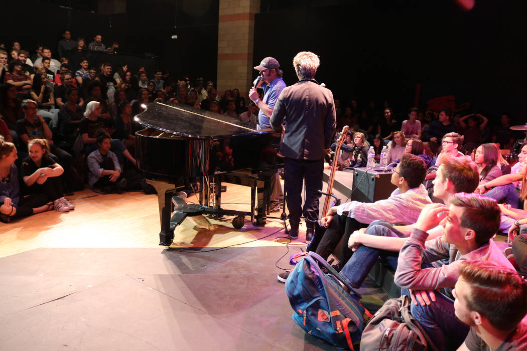 Jonathan Cain, left, and Ross Valory, from the band Journey, speak to students at Las Vegas Academy of the Arts, Wednesday, May 17 2017. Gabriella Benavidez Las Vegas Review-Journal @latina_ish