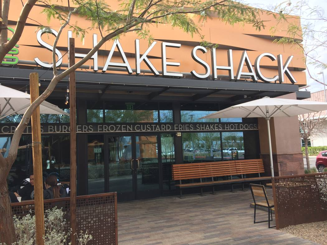 The exterior of Shake Shack is seen in February in Downtown Summerlin. There is indoor and outside seating. (Jan Hogan/View)