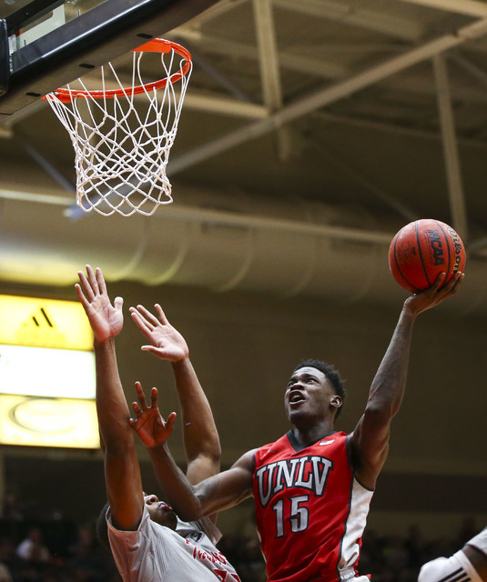 UNLV forward Dwayne Morgan (15) attempts a shot against Southern Utah during a basketball game at the Centrum Arena in Cedar City, Utah on Wednesday, Nov. 30, 2016. UNLV won 89-81. Chase Stevens/L ...