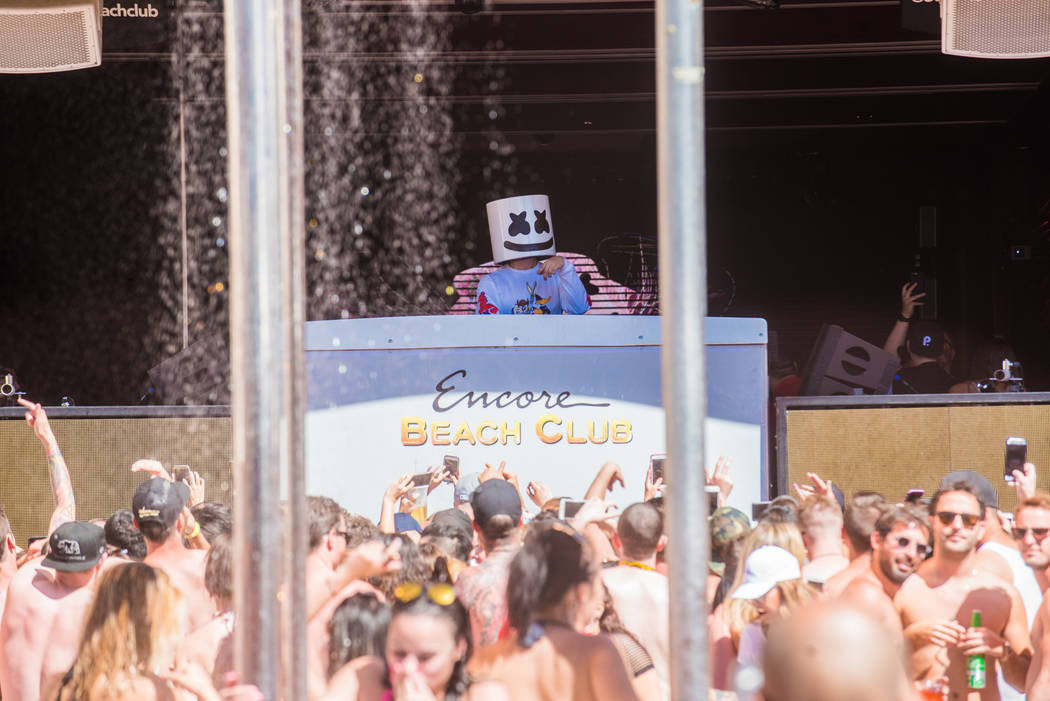 DJ Marshmello leads the dayclub party at Encore Beach Club on Sunday, May 14, 2017, in Las Vegas. (Courtesy)