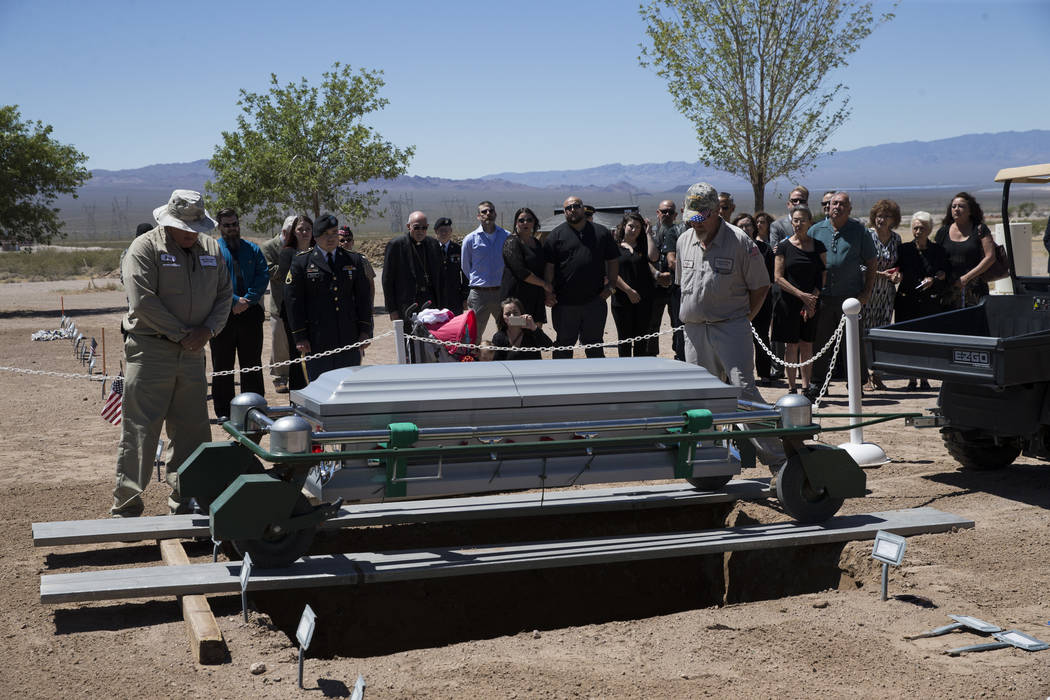 The funeral for Korean War soldier Pfc. Manuel M. Quintana at the Southern Nevada Veterans Memorial Cemetery on Friday, May 19, 2017 in Boulder City. Erik Verduzco/Las Vegas Review-Journal