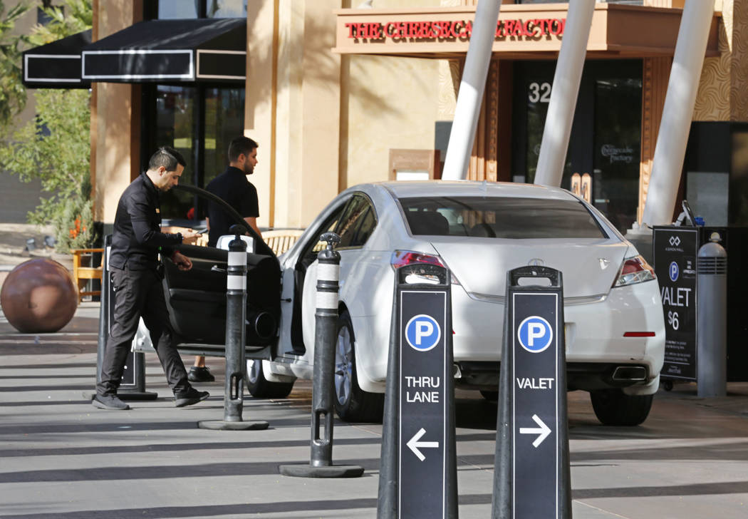 A valet parking area at Las Vegas North Premium Outlets in Las Vegas, Wednesday, May 17, 2017. The mall offers complimentary valet parking from 4pm to 9pm every Wednesday. Chitose Suzuki Las Vegas ...