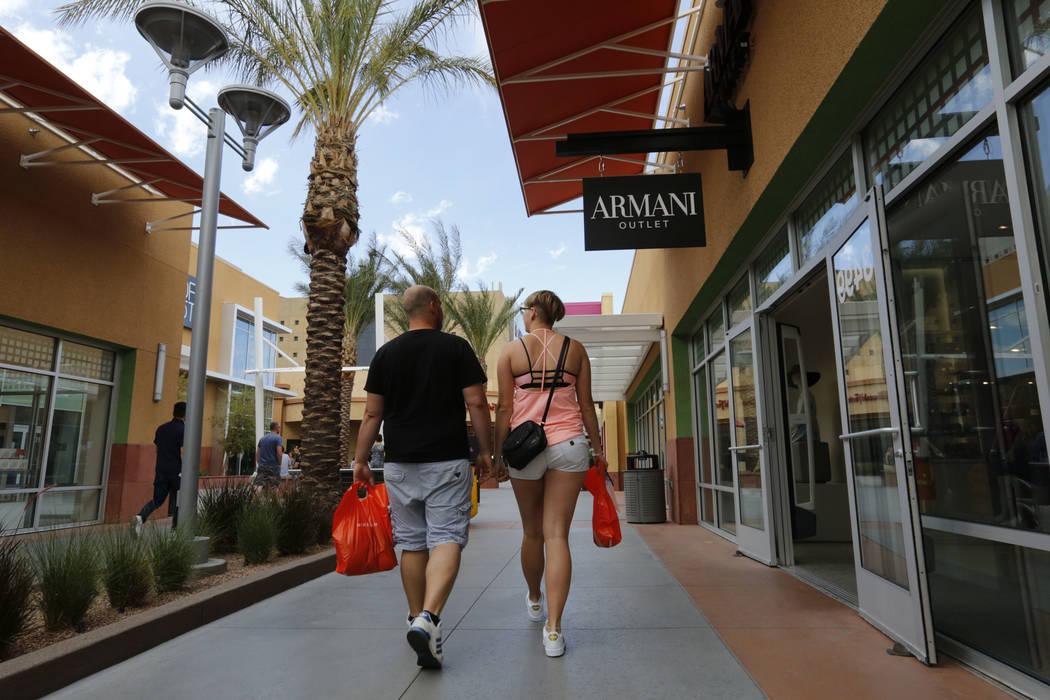 Shoppers walk through Las Vegas North Premium Outlets in Las Vegas, Wednesday, May 17, 2017. Chitose Suzuki Las Vegas Review-Journal @chitosephoto