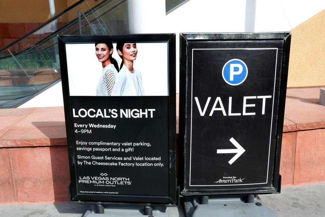 "A ""Local's Night"" sign at Las Vegas North Premium Outlets in Las Vegas, Wednesday, May 17, 2017. The mall offers complimentary valet parking from 4pm to 9pm every Wednesday. Chit ..."