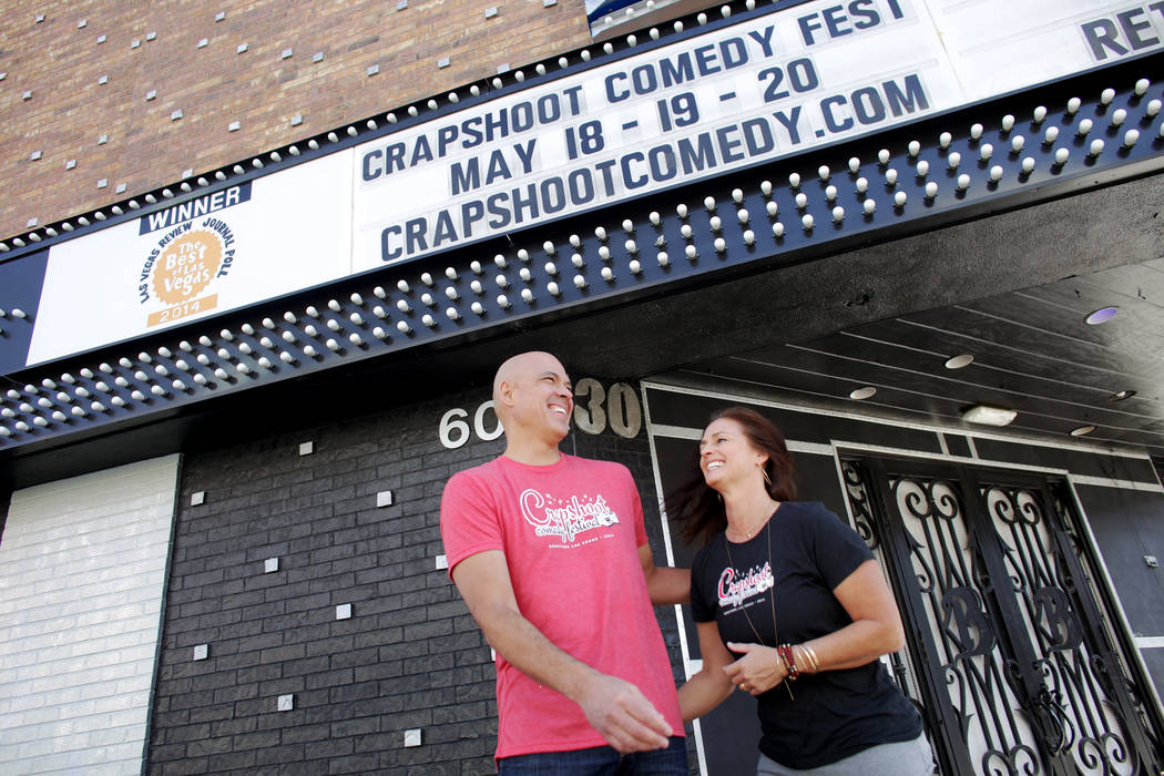 Paul Chamberlain and Kacky Chamberlain on Monday, May 15, 2017, outside Backstage Bar & Billiards in Las Vegas. They are the organizers for the Crapshoot Comedy Festival, and Backstage Bar &am ...