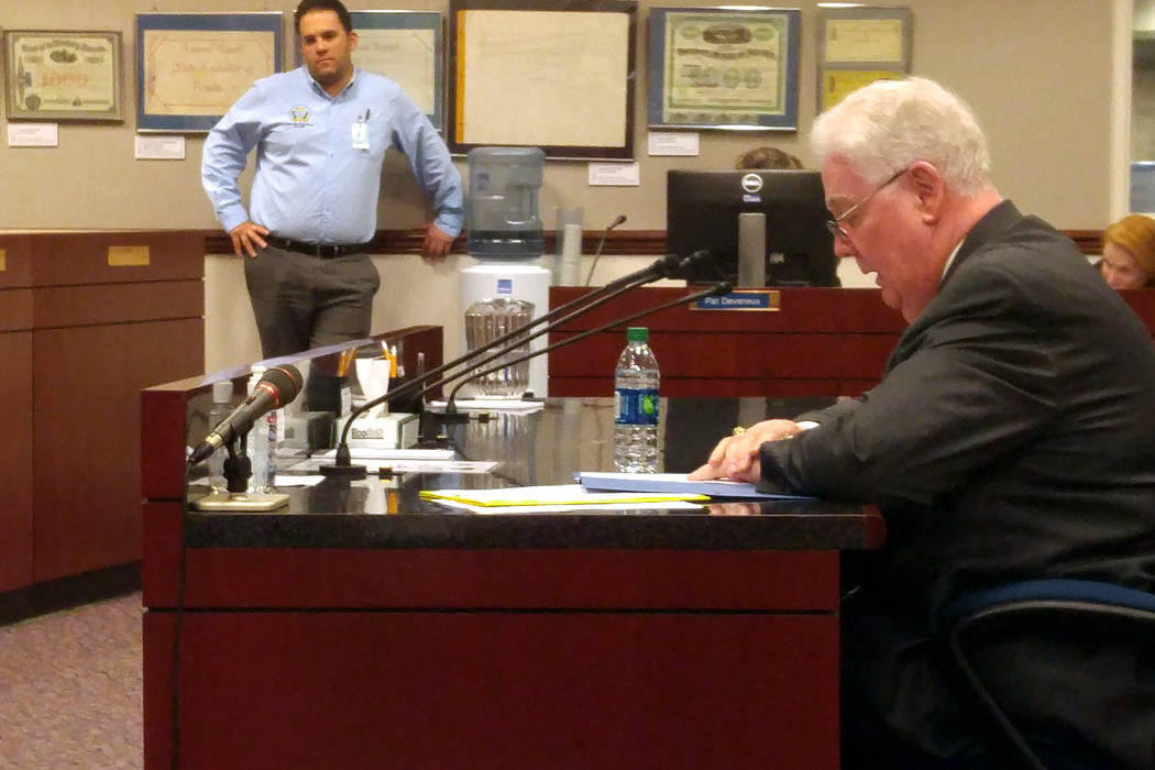Assemblyman John Hambrick, R-Las Vegas, a sponsor of Assembly Bill 218, talks Tuesday, May 16, 2017, to the Senate Judiciary Committee about the juvenile justice legislation in Carson City. The bi ...