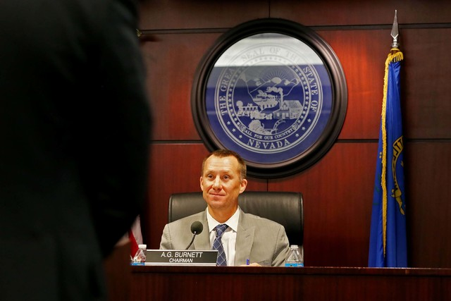 Chairman of the Gaming Control Board A.G. Burnett takes part in a GCB hearing, Wednesday, Sept. 7, 2016, at  Grant Sawyer State Office Building in Las Vegas. (Elizabeth Page Brumley/Las Vegas Revi ...