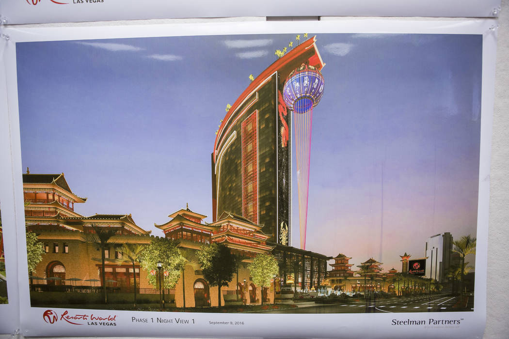 An architectural rendering of Resorts World at the construction office on the Las Vegas Strip on Wednesday, May 17, 2017. (Patrick Connolly Las Vegas Review-Journal) @PConnPie