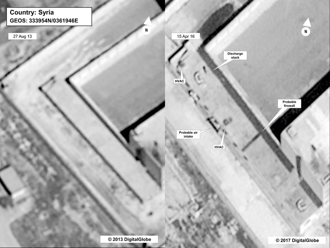 This image provided by the State Department and DigitalGlobe, taken Aug. 27, 2013, left, and April 16, 2015, satellite images of what the State Department described as a building in a prison compl ...