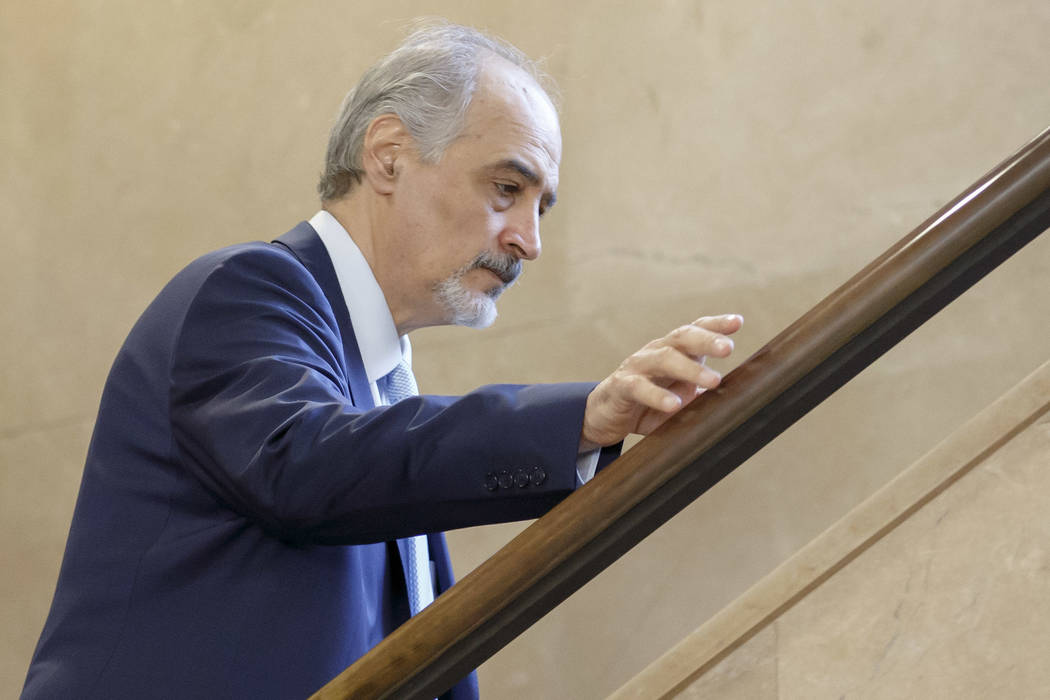 Bashar al-Jaafari, Syrian chief negotiator and Ambassador of the Permanent Representative Mission of Syria to the UN New York, arrives for another round of negotiations with UN Special Envoy for S ...