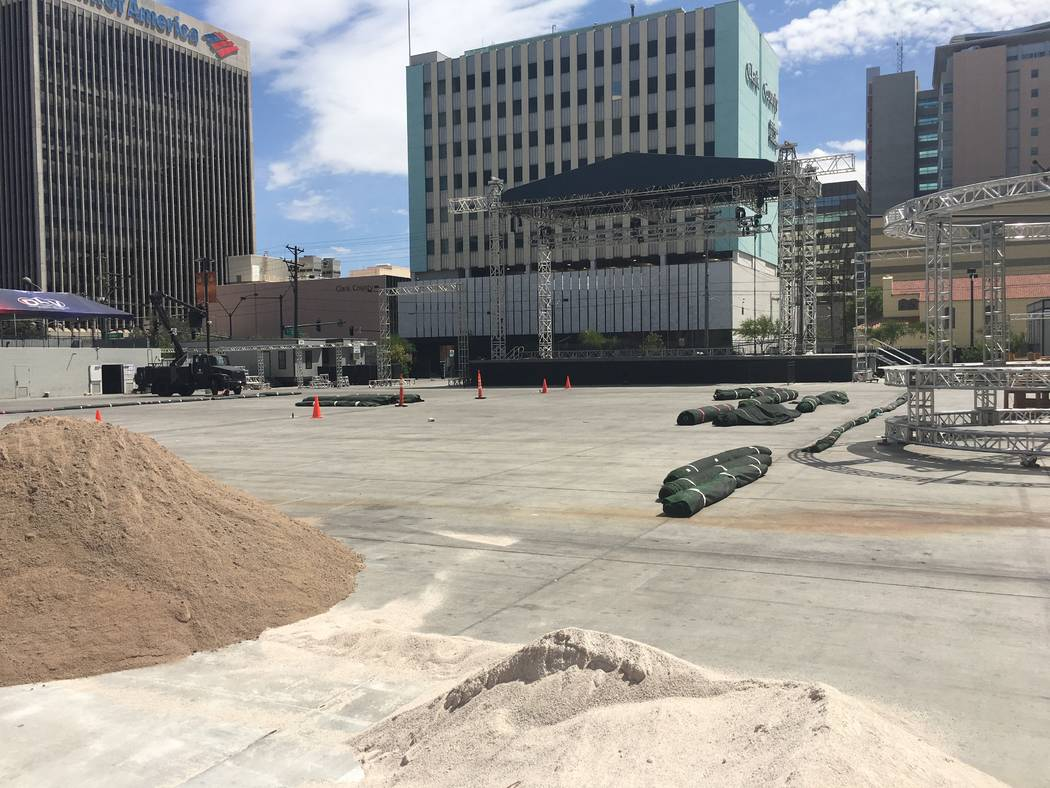 A look at the under-development beach scene at Downtown Las Vegas Events Center for Saturday's DIrtybird BBQ Festival. (John Katsilometes/Las Vegas Review-Journal). @JohnnyKats