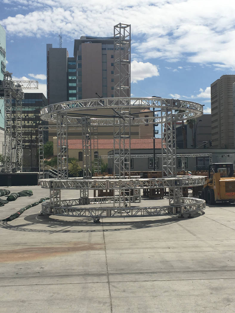 A look at the under-construction circular bar at Downtown Las Vegas Events Center for Saturday's DIrtybird BBQ Festival. (John Katsilometes/Las Vegas Review-Journal). @JohnnyKats