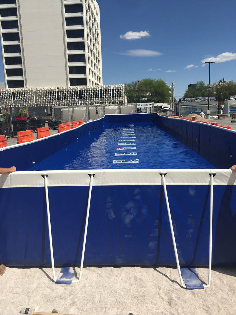 A look at the 100-foot-long pool at Downtown Las Vegas Events Center for Saturday's DIrtybird BBQ Festival. (John Katsilometes/Las Vegas Review-Journal). @JohnnyKats