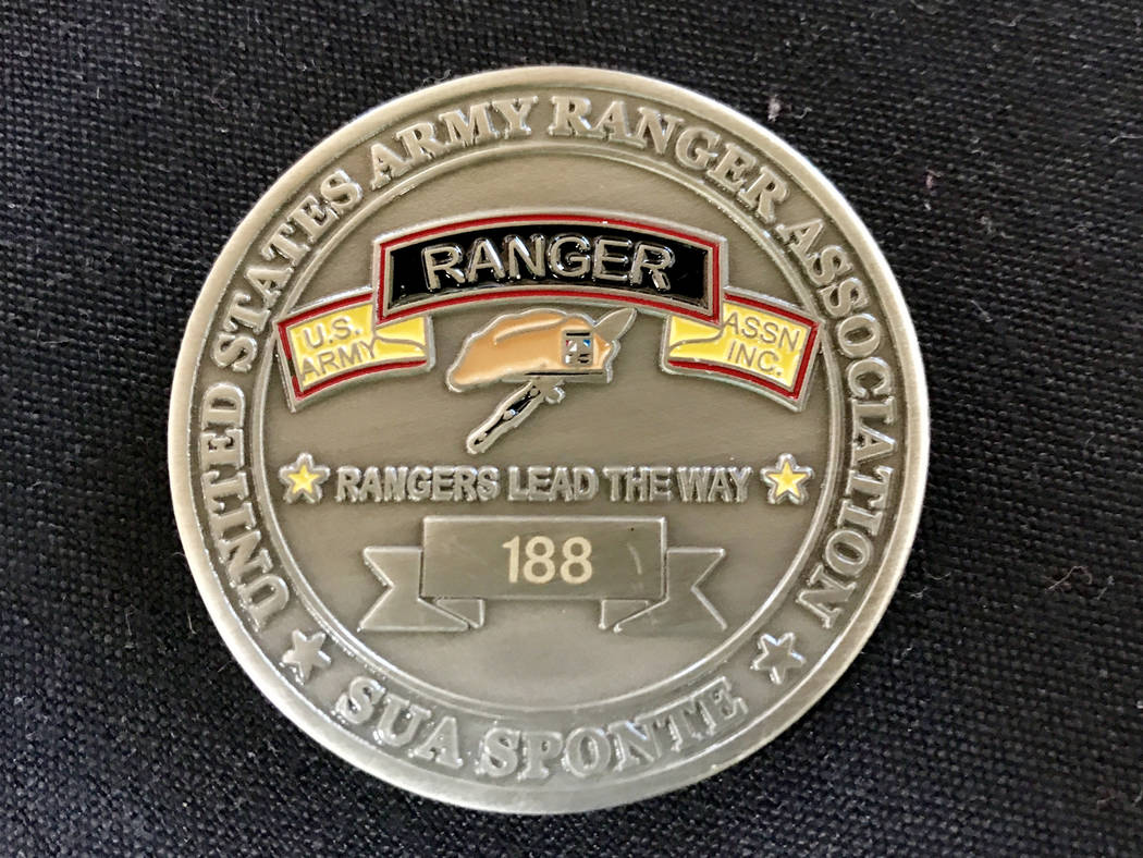Dale Burchfield's Ranger challenge coin. Keith Rogers Las Vegas Review-Journal