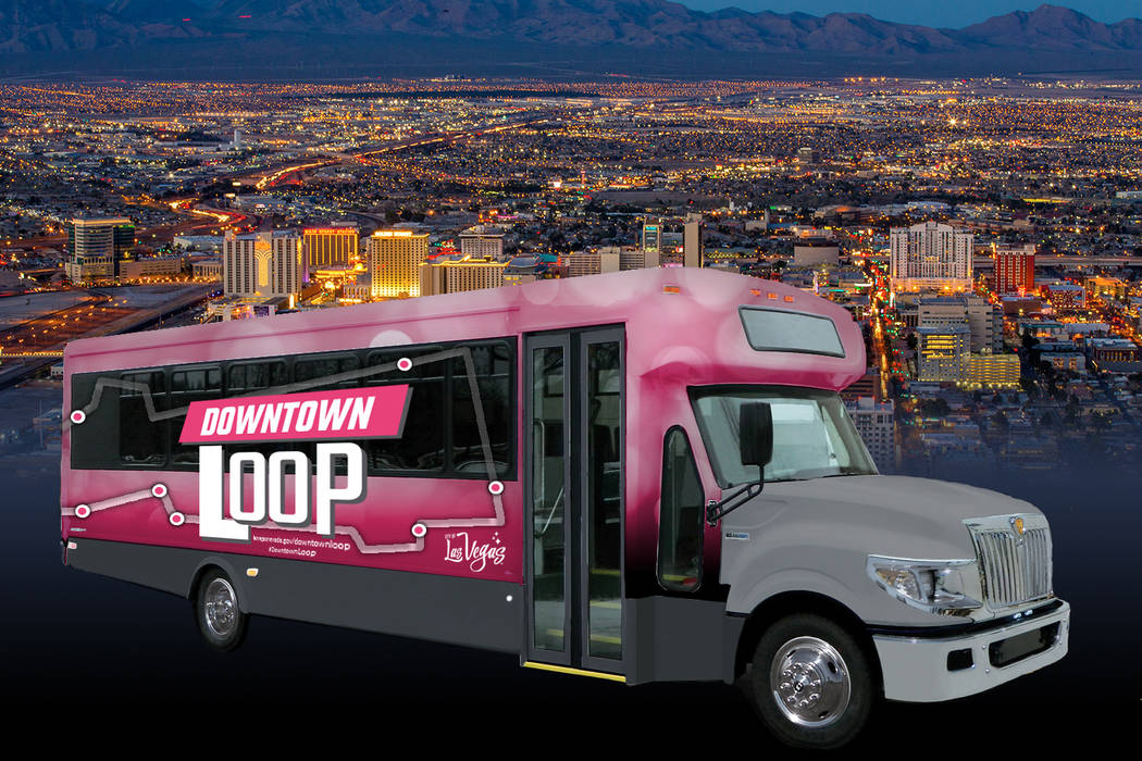 A rendering of the Downtown Loop, a free shuttle that will ferry people for free around downtown Las Vegas. City of Las Vegas.
