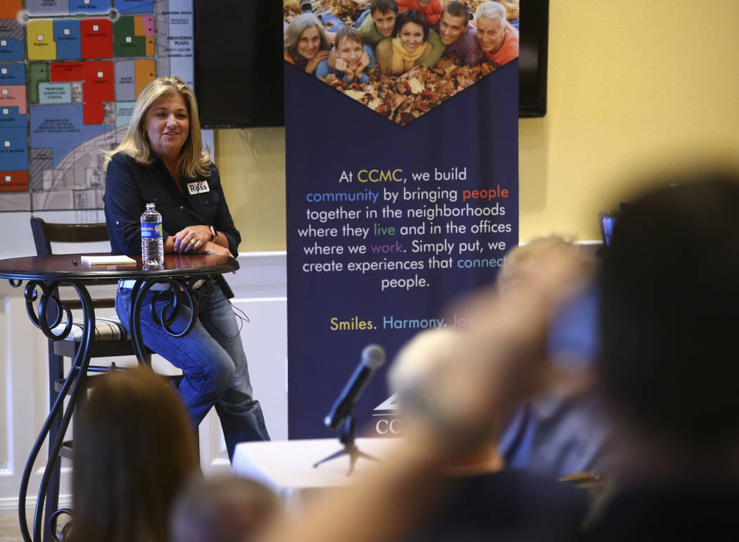 Las Vegas City Council Ward 6 candidate Kelli Ross speaks at a forum hosted by the Providence Homeowners Association in Las Vegas on Wednesday, May 17, 2017. Ward 6 candidate Michele Fiore was con ...