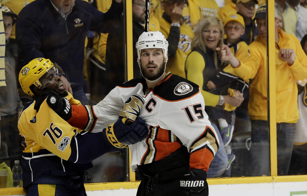 Nashville Predators defenseman P.K. Subban (76) and Anaheim Ducks center Ryan Getzlaf (15) scuffle after the conclusion of Game 3 of the Western Conference final in the NHL hockey Stanley Cup play ...