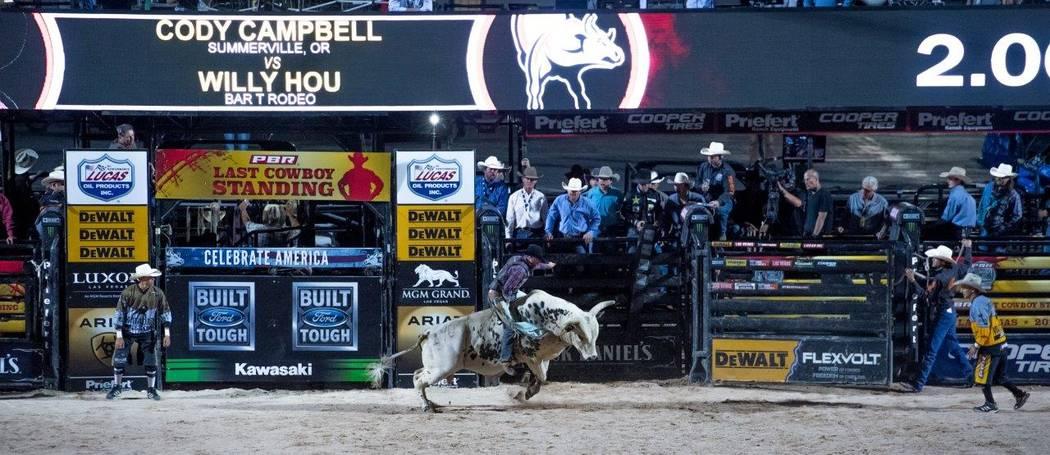 "PBR's ""Last Cowboy Standing"" on Friday, May 12, 2017, at Las Vegas Village. (Tom Donoghue)"