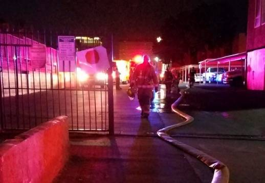 An early morning fire at Villas at Desert Pointe Apartments, 995 Sierra Vista Drive, left more than 80 people needing assistance from the American Red Cross on Wednesday. (Mike Shoro/Las Vegas Rev ...