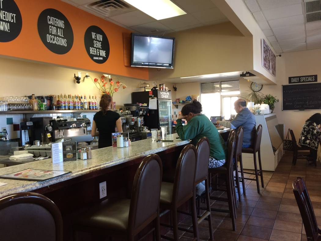 The interior of Norm's Diner, 3945 S. Durango Drive, is seem March 28, 2017. In a throwback to when he started, the walls include the San Francisco Giants taking up one wall. The speakers play c ...