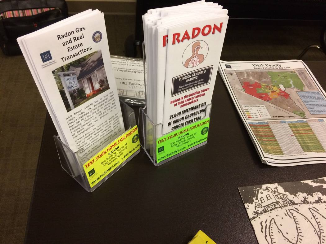 Pamphlets and other materials sit on a desk Feb. 5, 2017, at one of Nevada Cooperative Extension's Radon Education Program session, held at a  library. About a dozen attendees learned about the  ...