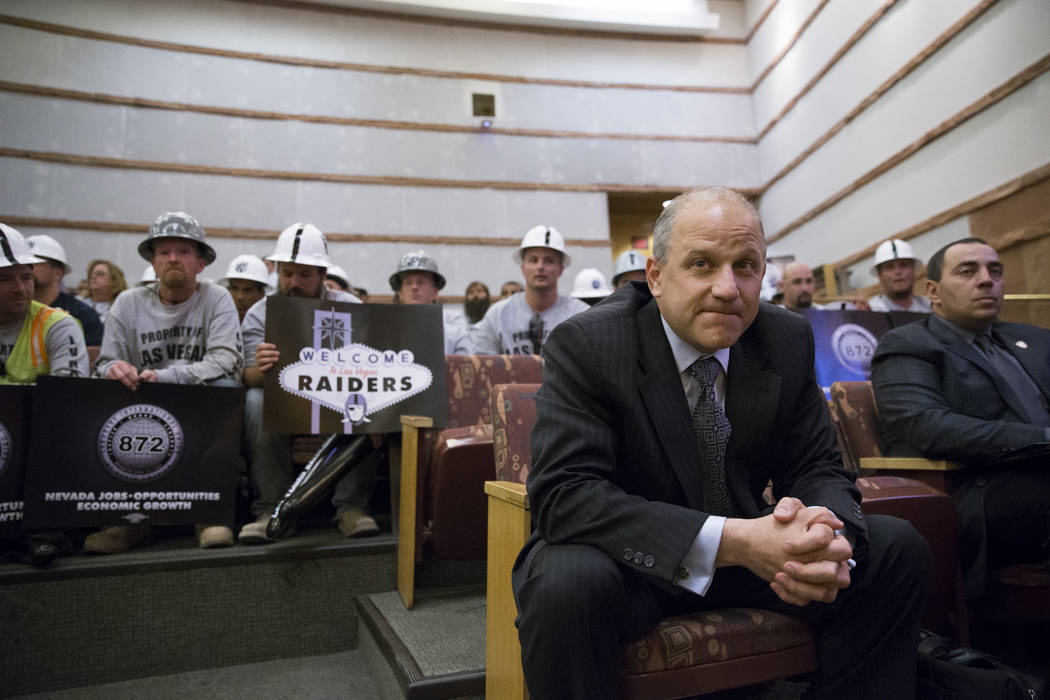 Oakland Raiders president Mac Badain during the Las Vegas Stadium Authority Board meeting at the Clark County Commission Chambers on Thursday, May 18, 2017 in Las Vegas. Erik Verduzco/Las Vegas Re ...