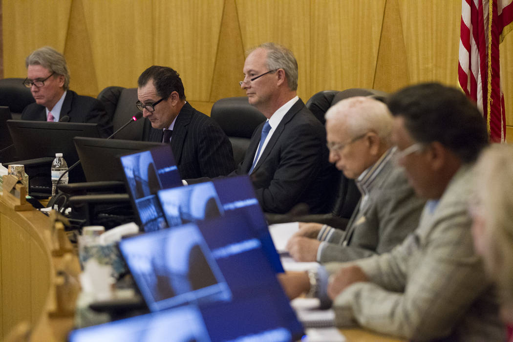 Las Vegas Stadium Authority Board member Steve Hill, center, during a meeting at the Clark County Commission Chambers on Thursday, May 18, 2017 in Las Vegas. Erik Verduzco/Las Vegas Review-Journal