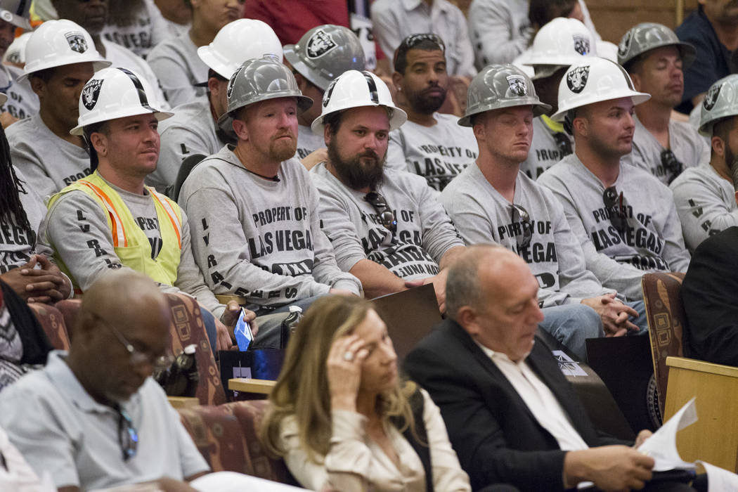 People attend a Las Vegas Stadium Authority Board meeting at the Clark County Commission Chambers on Thursday, May 18, 2017 in Las Vegas. Erik Verduzco/Las Vegas Review-Journal