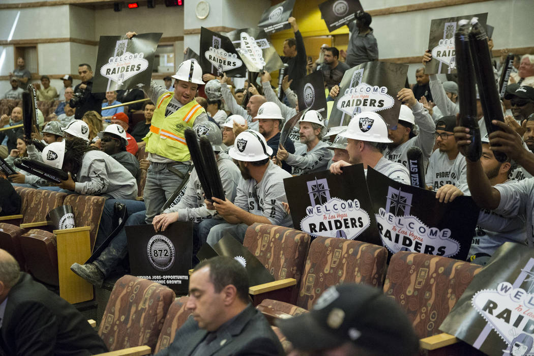 People attend the Las Vegas Stadium Authority Board meeting at the Clark County Commission Chambers on Thursday, May 18, 2017 in Las Vegas. Erik Verduzco/Las Vegas Review-Journal on Thursday, May  ...