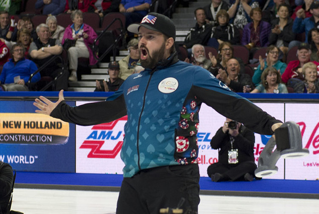 Canada's Reid Carruthers celebrates after North America won the Continental Cup on Sunday at the Orleans Arena.  (Curling Canada/Michael Burns photo)