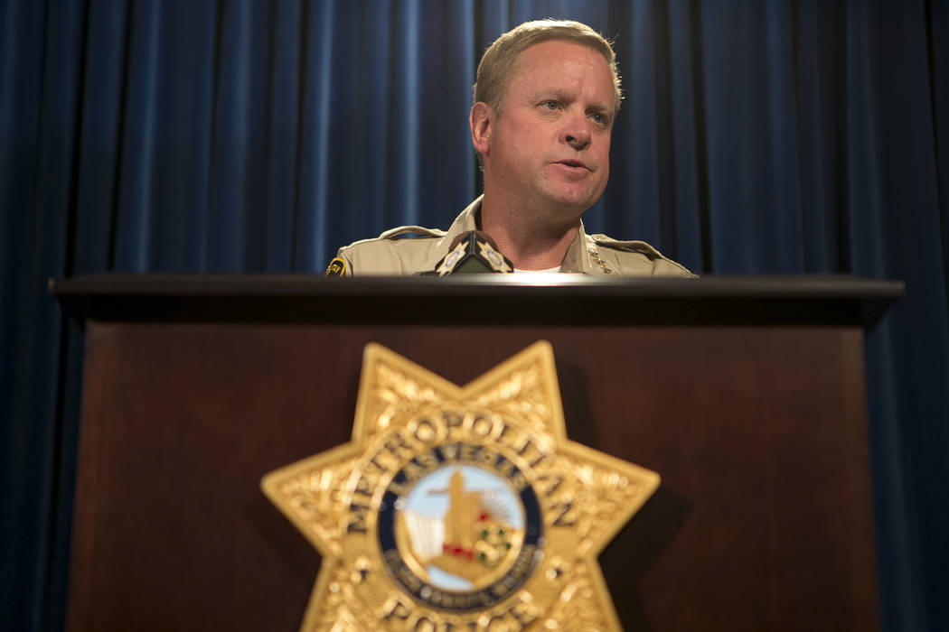 LVMPD undersheriff Keith McMahill speaks on an incident involving Tashii Brown during a press conference at Las Vegas Metropolitan Police Department Wednesday, May 17, 2017, in Las Vegas. Brown, w ...