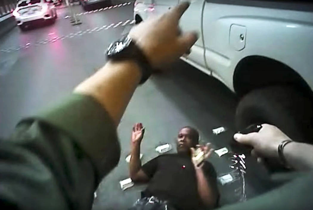 Metropolitan Police Department body-camera footage shows Tashi Brown being stunned with a taser before his death on May 14, 2017 in Las Vegas. Brown died in police custody after he was stunned wit ...
