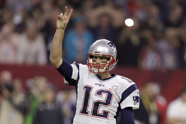 New England Patriots' Tom Brady calls for a two-point conversion during the second half of the NFL Super Bowl 51 football game against the Atlanta Falcons, Sunday, Feb. 5, 2017, in Houston. (AP Ph ...