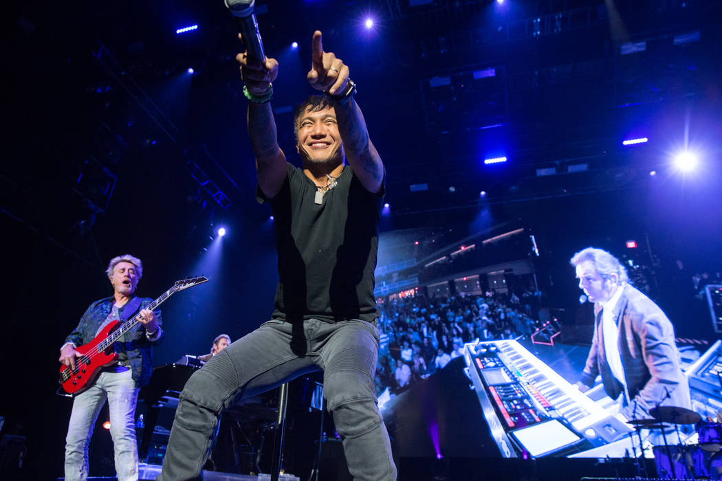 Ross Valory, Arnel Pineda and Jonathan Cain of Journey perform during the band's opening night of its nine-show residency at The Joint at The Hard Rock Hotel on Wednesday, May 5, 2017, in Las Vega ...