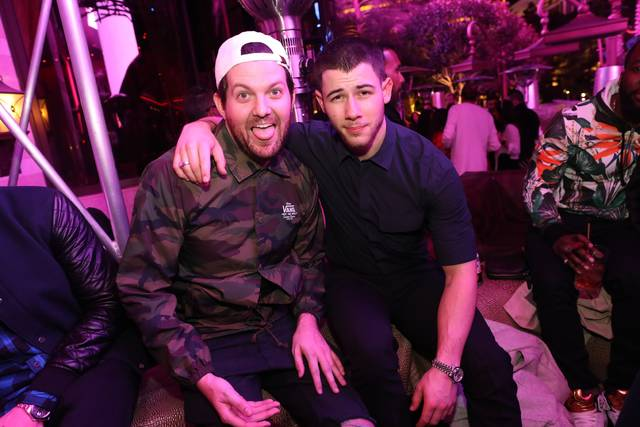 Dillon Francis and Nick Jonas at XS in Steve Wynn's Encore on Saturday, Feb. 25, 2017, in Las Vegas. (Danny Mahoney)