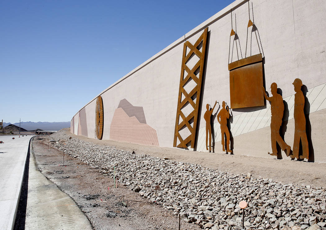 The design on the wall near the construction site of I-11, captures the history of the establishment of Boulder City and the construction of Hoover Dam on Friday, May 19, 2017, in Boulder City. Co ...