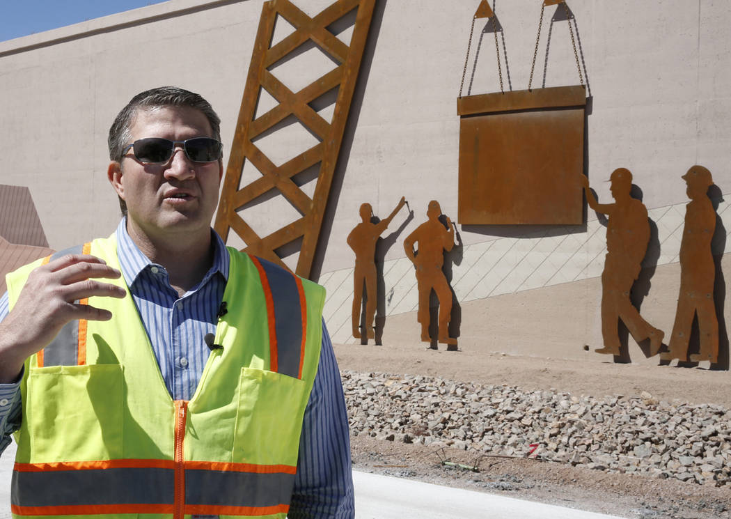Ryan Wheeler, senior project manager at Nevada Department of Transportation, addresses the media during a tour of the construction of I-11 on Friday, May 19, 2017, in Boulder City. Construction of ...