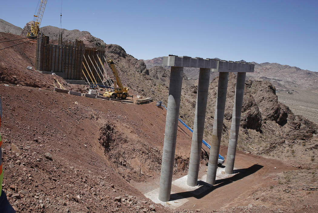 The construction site of I-11 bridge near Lake Mead on Friday, May 19, 2017, in Boulder City. Construction of the first 15 miles of I-11, which will link Las Vegas to Phoenix is making progress. B ...
