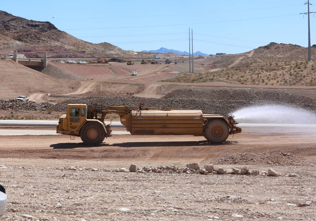 The construction site of I-11, in Boulder City during a media tour on Friday, May 19, 2017. Construction of the first 15 miles of I-11, which will link Las Vegas to Phoenix is making progress. Biz ...