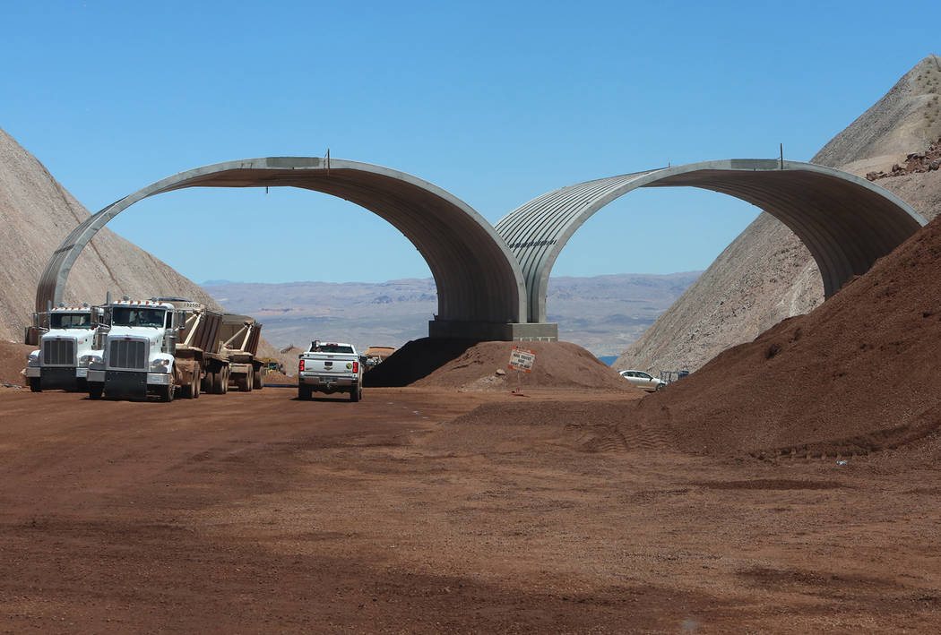 The new dedicated desert bighorn sheep overpass on the construction site of I-11, near Lake Mead on Friday, May 19, 2017, in Boulder City. Construction of the first 15 miles of I-11, which will li ...