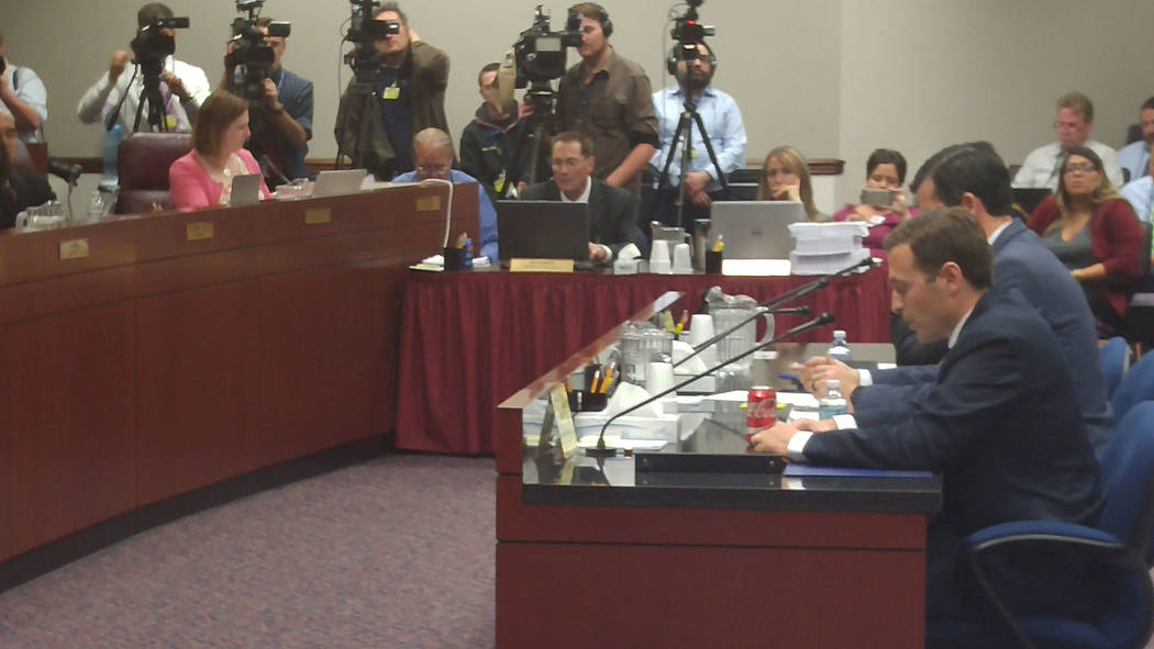 Attorney General Adam Laxalt talks on Wednesday, May 17, 2017, to the Assembly Ways and Means Committee and Senate Finance Committee about the circumstances of his meeting with Nevada Gaming Contr ...