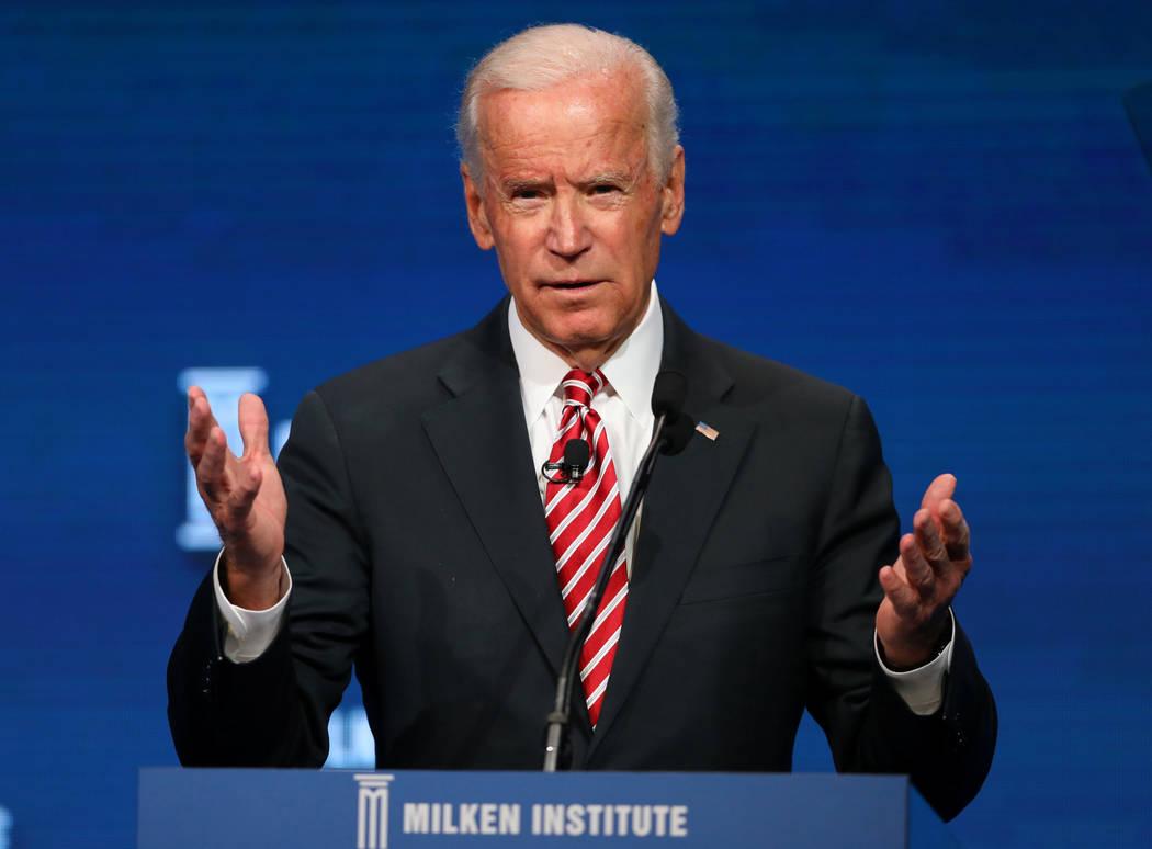 Former Vice President Joe Biden speaks during the Milken Institute Global Conference in Beverly Hills, California, U.S., May 3, 2017. REUTERS/Mike Blake