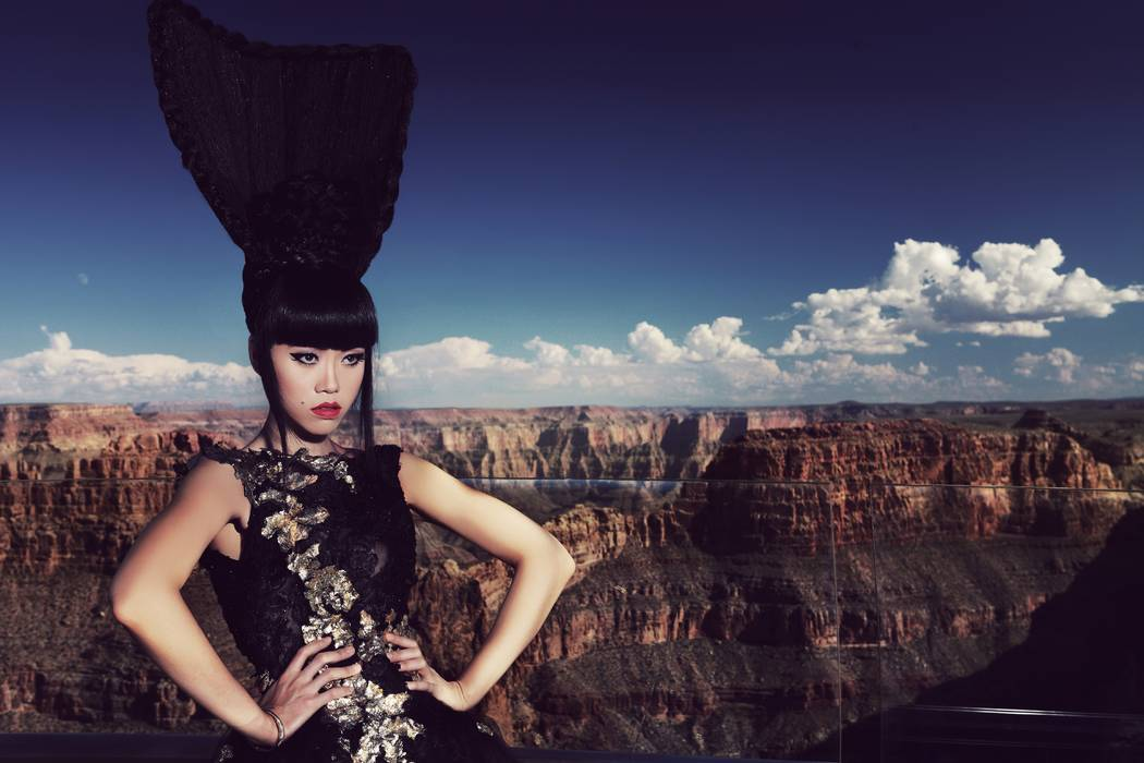 Jessica Minh Anh poses at the Grand Canyon Skywalk 2013.  John Oakley